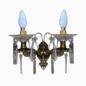 Antique Brass and Crystal Double Sconce