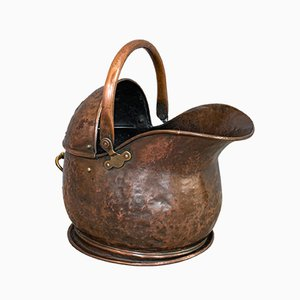 Antique English Copper Coal Bucket, 1870s