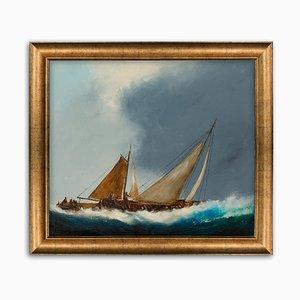 Großes Vintage Maritime Ölgemälde von David Chambers