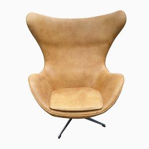 Egg Chair en Cuir Cognac par Arne Jacobsen pour Fritz Hansen, 1960s
