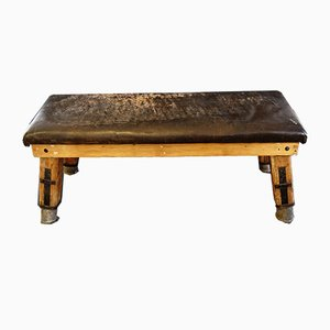 Vintage Leather & Wood Gymnastic Bench
