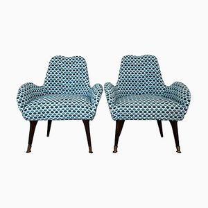 September Fabric & Wood Lounge Chairs, 1970s, Set of 2