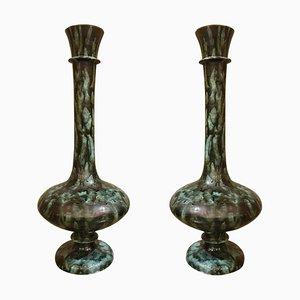 Große Italienische Mid-Century Keramikvasen in Grün und Schwarz, 1960er, 2er Set