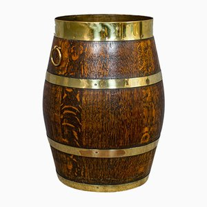 Vintage English Copper, Oak & Brass Barrel, 1930s