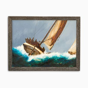 Large Maritime Seascape Oil Painting, 2000s