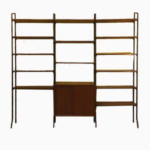 Italian Teak & Steel Bookcase, 1960s