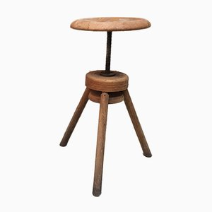 Italian Wood Technigraph Stool, 1950s
