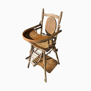 Vintage Wood and Cane Childrens Chair, 1950s