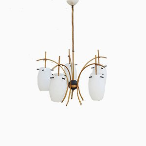 Mid-Century Italian Glass and Brass Chandelier from Stilnovo, 1960s