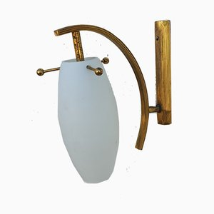 Mid-Century Italian Glass and Brass Sconce from Stilnovo, 1960s