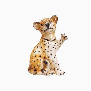 Große Italienische Keramik Leoparden Skulptur, 1970er