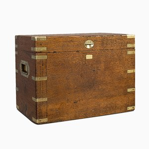 Antique English Silver, Oak & Brass Chest, 1900s