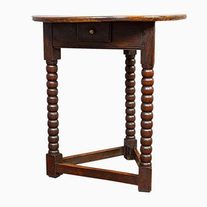 Antique English Elm Cricket Table, 1890s