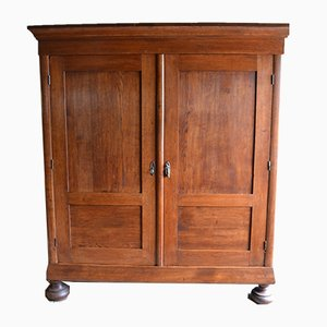 Large Antique Dutch Oak Linen Wardrobe