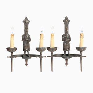 Französische Gotische Wandlampen, 1950er, 2er Set