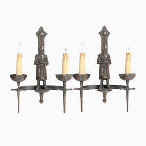 French Gothic Sconces, 1950s, Set of 2