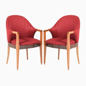 French Art Deco Walnut & Ebony Macassar Armchairs, 1930s, Set of 2