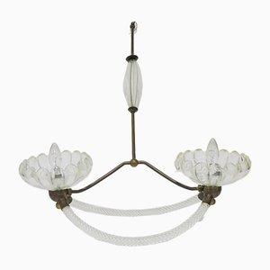 Lámpara de araña Art Déco vintage de cristal de Murano