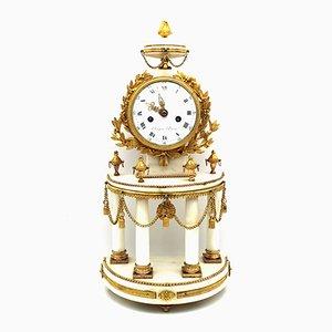 Antike Louis XVI Vergoldete Bronze & Marmor Pendeluhr