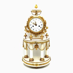 Antique Louis XVI Gilt Bronze & Marble Pendulum Clock