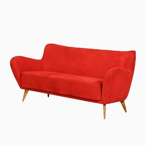 Rotes 3-Sitzer Sofa von Guglielmo Veronesi für ISA Bergamo, 1960er