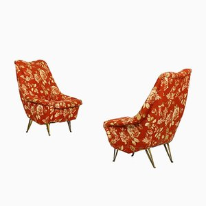 Mid-Century Brass Lounge Chairs from ISA Bergamo, 1950s, Set of 2
