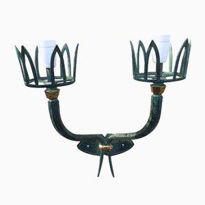 Vintage Art Deco Wandlampe aus Schmiedeeisen