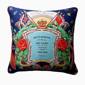 Vintage British Silver Jubilee Cushion