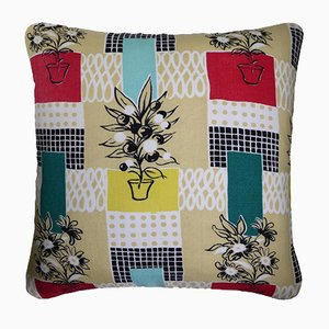 Vintage Flower Pots Cushion by Tom Arnold for David Whitehead, 1950s