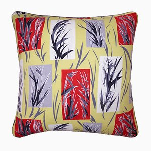Vintage British Bamboo Leaves Cushion from Nichollette Yardley-Moore, 1950s
