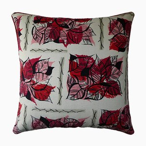Vintage British Rose Leaves Cushion, 1950s
