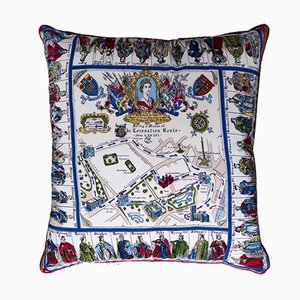 Vintage British Coronation Route Cushion, 1950s