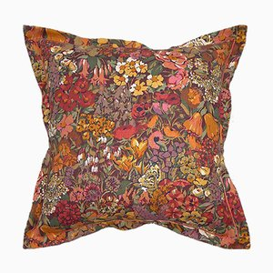 Vintage British Country Garden Cushion, 1960s