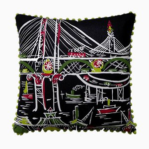 Vintage British Golden Gate Cushion, 1960s