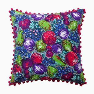 Vintage British Autumn Fruits Cushion, 1970s
