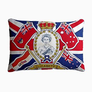 Vintage British Coronation Flag Cushion, 1950s