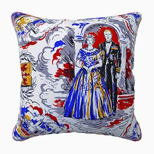 Vintage British Queen Elizabeth II and Prince Philip Cushion, 1950s