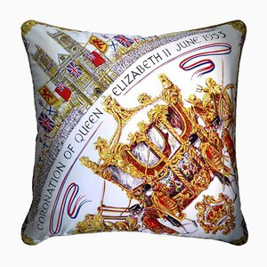 Vintage British The Coronation Coach Cushion, 1950s