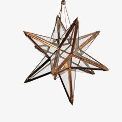 Stella decorativa in ottone massiccio e vetro