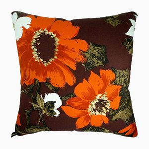 Vintage British Orange Sunflowers Cushion, 1970s