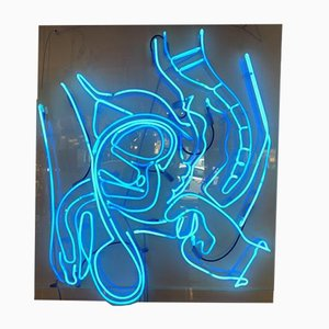 Large Vintage Blue Neon by Anthony James