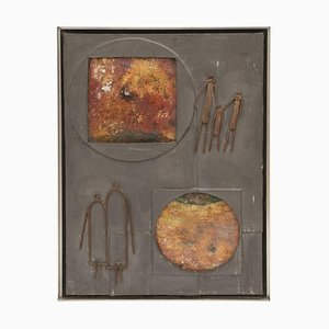 Abstraktes Mixed Media Wandbild, 1950er