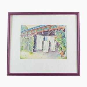 Rue Jean Dolent Watercolor by Lise Le Coeur, 1986