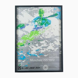 Munich Olympics Men's Kayak Poster by Oti Archer, 1972