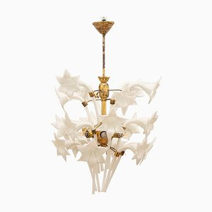 Italian Murano Glass Flower and Brass Chandelier, 1970s