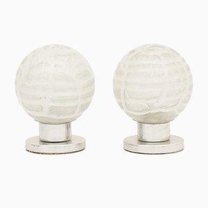 Deutsche Eisglas Tischlampen von Doria Leuchten, 1970er, 2er Set