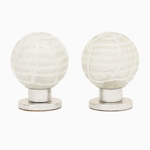 German Frosted Ice Glass Table Lamps from Doria Leuchten, 1970s, Set of 2