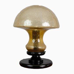 Deutsche Vintage Lampe aus hellbraunem Glas in Pilz-Optik von Doria Leuchten, 1970er