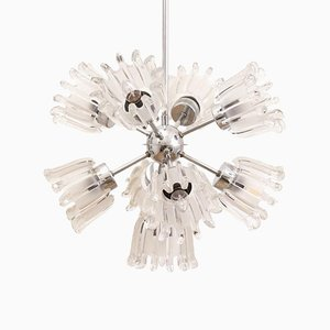 Glass and Chrome Tulip Sputnik Chandelier from Doria Leuchten, 1960s