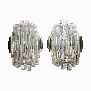 German Brass and Faceted Glass Wall Sconces from Limburg, 1960s, Set of 2
